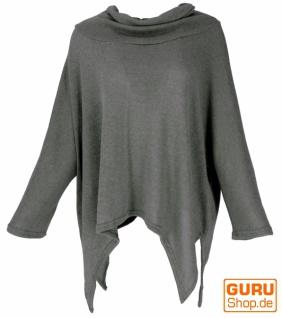 Oversize Pullover mit Rollkragen, Feinstrick Pixi Poncho-Pulli - granitgrau
