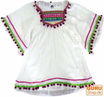 Poncho, Mädchenbluse, Boho Kinder Tunika, Kinderkleid - weiß
