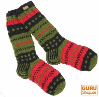 Handgestrickte Schafwollsocken, Nepal Socken - grün