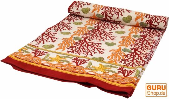 Blockdruck Tagesdecke, Bett & Sofaüberwurf, handgearbeiteter Wandbehang, Wandtuch - rot/orange Lebensbaum