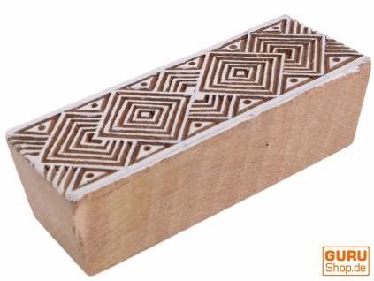 Indischer Textilstempel, Stoffdruckstempel, Blaudruck Stempel, Holz Model Bordürenstempel - 3*10 cm Muster 1