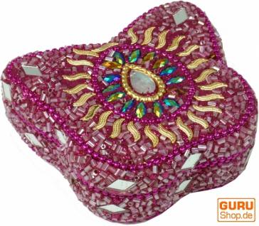 Indisches Schmuckdöschen, Perlendöschen, Schmuckschachtel Schmetterling in 5 Farben
