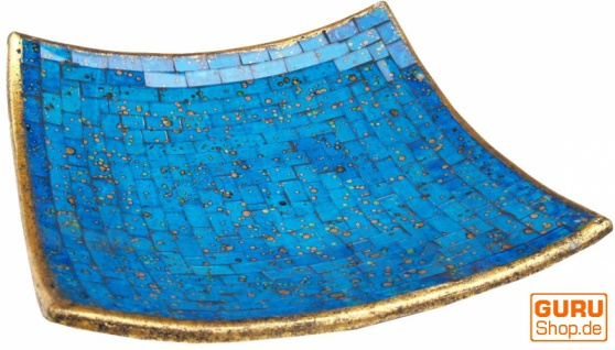 Eckige Mosaikschale, Untersetzer, Dekoschale, handgearbeitete Keramik & Glas Obst Schale - Design 12