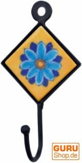 Wandhaken, Garderobenhaken mit handgefertigter Fliese (4*4 cm) - Modell 1