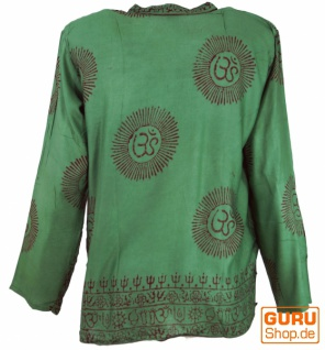 Hare Krishna Mantra Shirt, Goa Hippie Hemd - olive - Vorschau 2