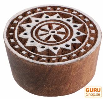 Indischer Textilstempel, Stoffdruckstempel, Blaudruck Stempel, Holz Model - Ø 5 cm Mandala 6