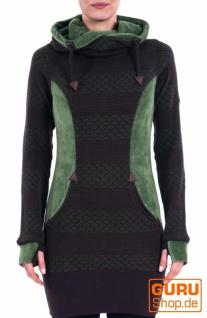 Tunika, langärmlig aus Bio-Baumwolle / Chapati Design - green/choco stripe