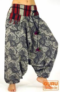 Weite Haremshose mit breitem Webbund und Paisleydruck - schwarz
