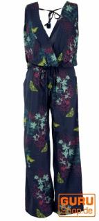 Boho Jumpsuit, Sommer Overall mit weitem Rückenausschnitt, Hosenkleid - blau