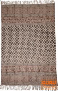 Handgewebter Blockdruck Teppich aus natur Baumwolle mit traditionellem Design - Muster 19