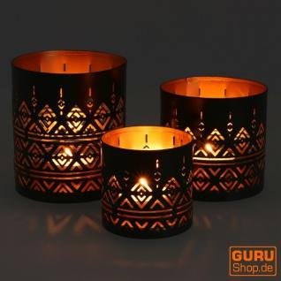 Filigranes orientalisches Metall Windlicht, Teelicht Leuchte mit fein gefrästem Design - Motiv 4