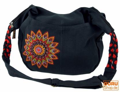 Ethno Boho Schultertasche, Goa Tasche Mandala - schwarz/rot