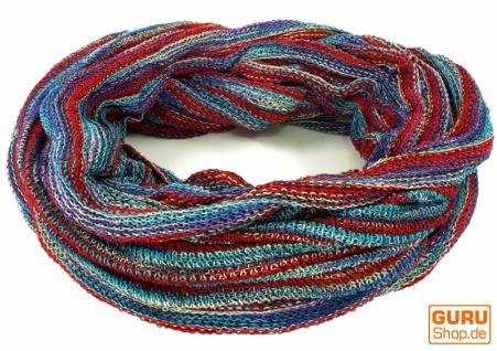 Weicher Loop Schal / Stola, Magic Loopschal, Weste - blau/rot