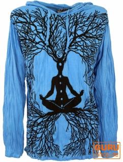 Sure Langarmshirt, Kapuzenshirt Meditation Chakra Buddha - hellblau