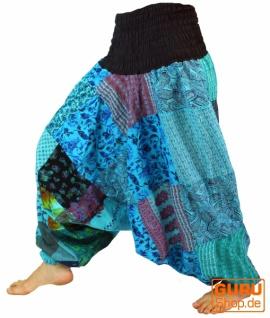Aladinhose Patchwork Pluderhose, Hippie Hose - türkis