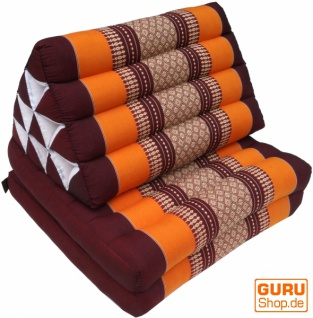 Thaikissen, Dreieckskissen, Kapok, Tagesbett mit 2 Auflagen - braun/orange