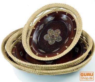 Runde umflochtene Keramikschale, Obstschale, Dekoschale - Design 2