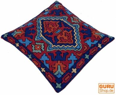 Kelim Kissenhülle `Kaschmir`, bestickter Kissenbezug, Dekokissen aus Wolle - Muster 20
