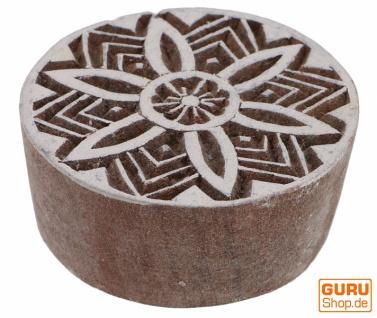 Indischer Textilstempel, Stoffdruckstempel, Blaudruck Stempel, Holz Model - Ø 6 cm Mandala 4