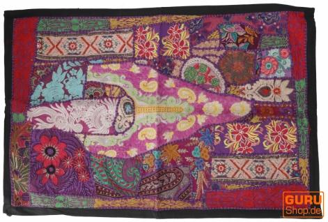 Indischer Wandteppich Patchwork Wandbehang, Einzelstück 90*65 cm - Muster 21