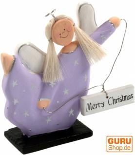 Weihnachtsengel, Chrisbaumschmuck ` Merry Chrismas` in 4 Farben
