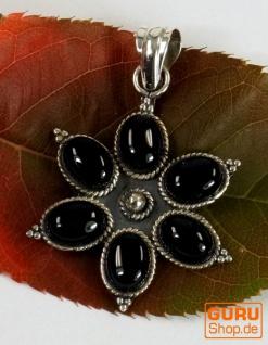 Ethno Blüten Silberanhänge, Indischer Boho Kettenanhänger - Onyx