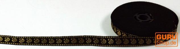 Orient Bordüre, Webband aus Indien 1, 5 cm breit 1m - schwarz