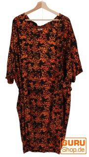 Leichter Sommer Kimono, Umhang, Strandkleid aus Batik Sarongstoff - schwarz/orange