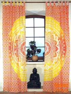 Vorhang, Gardine (1 Paar Vorhänge, Gardinen) mit Schlaufen, Mandala Motiv - orange/gelb