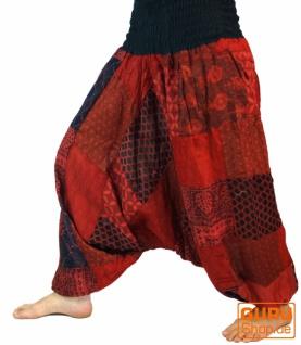 Aladinhose Patchwork Pluderhose, Hippie Hose - rot