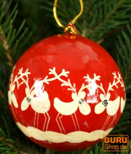 Upcyceling Weihnachtskugel aus Pappmachee, Handbemalter Christbaumschmuck, Kaschmirkugeln - Muster 28
