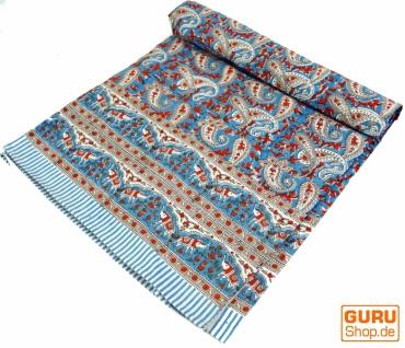 Blockdruck Tagesdecke, Bett & Sofaüberwurf, handgearbeiteter Wandbehang, Wandtuch - blau/rot paisley