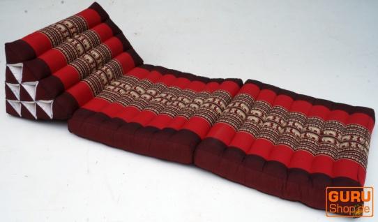 Thaikissen, Dreieckskissen, Kapok, Tagesbett mit 2 Auflagen - braun/rot - Vorschau 2