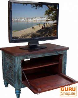 Kleine Plasma TV Box im Kolonialstil Fernsehtisch - blau