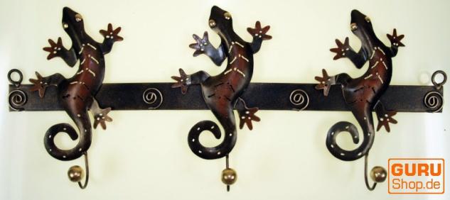 Hakenleiste mit Figuren, Ethno Kleiderhaken, Metall Kleiderhaken - Geckos