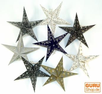 8 Stk. Stern Lichterkette, Papier Ministern Set, faltbar - schwarz/weiß/grau/glitter