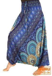 Afghani Hose, Overall, Jumpsuit, Haremshose, Pluderhose, Pumphose, Aladinhose - blau/beige