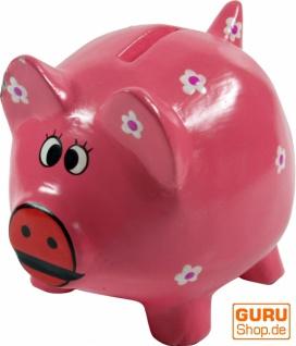 Verrückte Sparbüchse aus Holz, von Hand bemalt - Glücks Schwein rosa