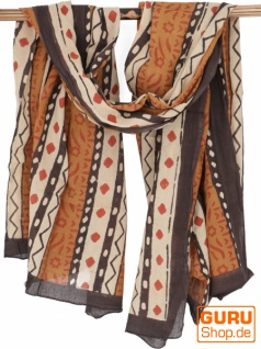 Leichter Pareo, Sarong, handbedrucktes Baumwolltuch - Farb Kombination 26