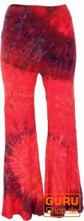Batik Leggings mit Schlag, Boho Schlaghose - pink