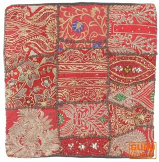 Patchwork Kissenhülle, Dekokissen Bezug aus Rajasthan, Einzelstück - Muster 55