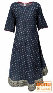 Langes Boho Kaftankleid, Sommerkleid mit halben Ärmeln - dunkelblau