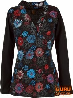 Besticktes Langarmshirt mit V-Neck Flower Power Hippie chic - schwarz
