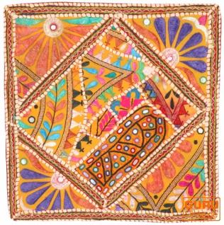 Patchwork Kissenhülle, Dekokissen Bezug aus Rajasthan, Einzelstück - Muster 4