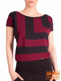 T-Shirt aus Bio-Baumwolle / Chapati Design - wine/black