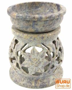 Indische Duftlampe, ätherisches Öl Diffusor, Teelicht Halter für Aromatherapie, Aromalampe aus Speckstein - Rund Blüte 1