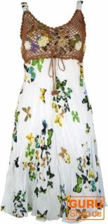 Boho Minikleid, Sommerkleid Schmetterling, Krinkelkleid - weiß/braun