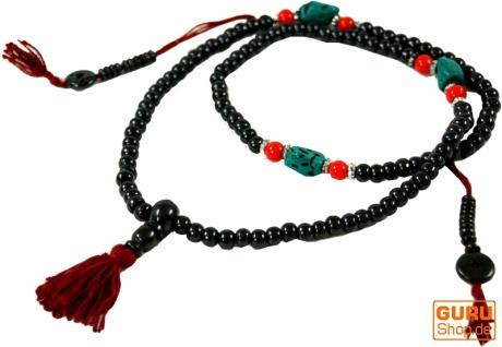 Tibetische Gebetskette, buddhistische Mala Halskette mit türkisen Perlen - Modell 1