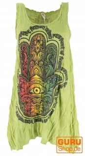 Baba Longshirt, Psytrance Minikleid - lemongrün / Hamsa Hand