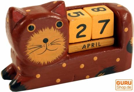 Holz Kalender - Katze braun